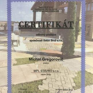 Brož certifikát