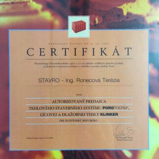 Wienerberger certifikát