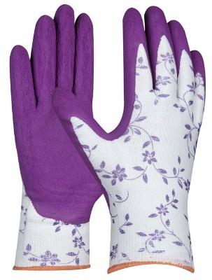 Pracovné záhradné rukavice Flower Lila s latex. ochran. vrst. (Prevedenie bielo-fialová s potlačou, Veľkosť 8)